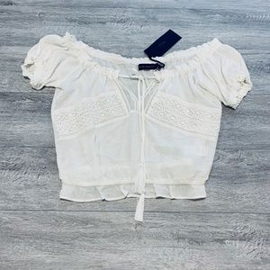 NWT Silver Jeans Co. Lace Linen Crop Top